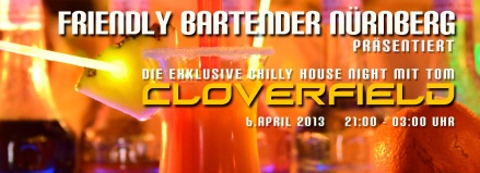 THE FRIENDLY BARTENDER CHIILLY HOUSE NIGHT - jetzt tauts by CLOVERFIELD FB Banner